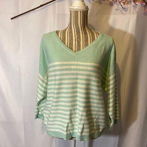 Vince Camuto Aqua/white striped sweater SZ M EUC